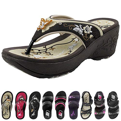 Gold Pigeon Shoes GP Wedge Flip Flop for Women: 8161 Brown, EU39 (US Size 7.5-8)
