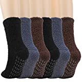 QKURT 6 pares de Calcetines Suaves y Esponjosos, Calcetines Antideslizantes para Hombre Calcetines Termicos Calcetines Suaves y Esponjosos para Hombre