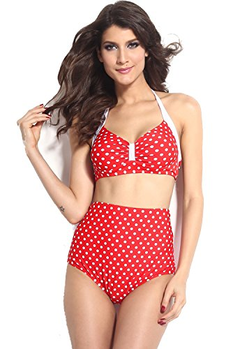 jowiha New Vintage Sexy Push Up Bikini im Retro Rockabilly Polka Dot Style Größen S M L (XL (EU 40-42), Rot/Weiß)