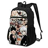 HXH Killua Zoldyck and Gon Freecss Collage Poster Backpack Hunter X Hunter Manga Girls Boys Stylish School Bag Lightweight Travel Foldable Packable Tool Bags Daily Use Laptop Backpack for Adults Teens