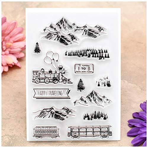 Kwan Crafts Happy Traveling Mountain Forest Clear Stamps for Card Making Decoration and DIY Scrapbooking
