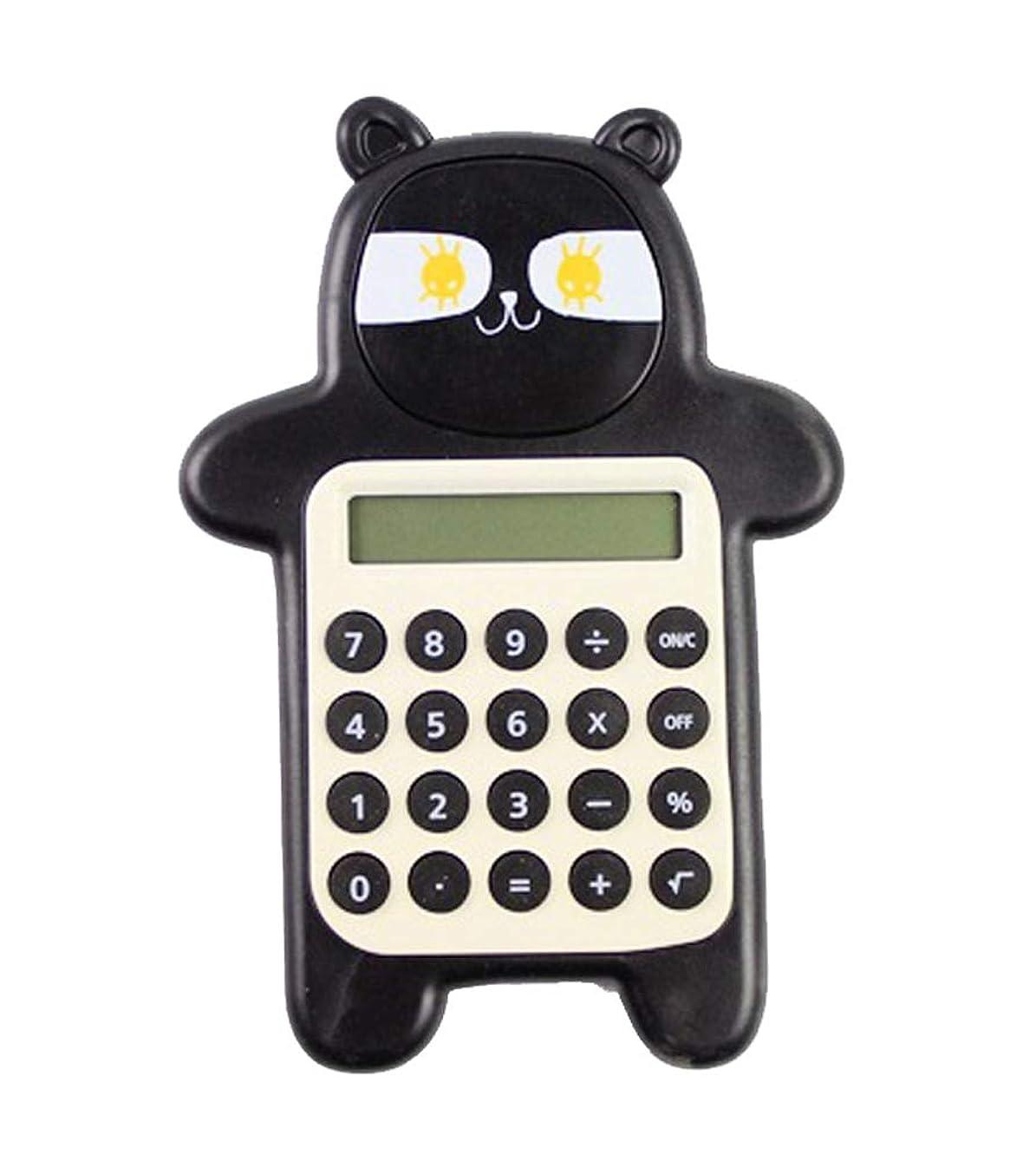 超高層ビル勇気町かわいいクマの形クリエイティブミニ電卓学生電卓、黒A1
