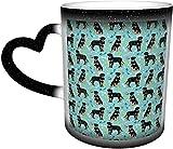 Tazas de café Rottweiler perro perros y juguetes azul sensible al calor color cambiante taza en el cielo taza de cerámica regalos personalizados para los amantes de la familia amigos