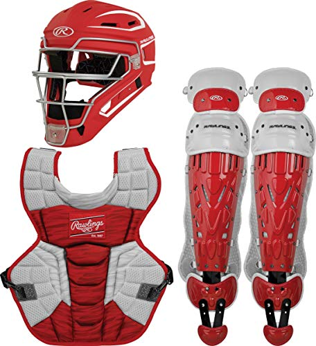 Rawlings Velo 2.0 Youth NOCSAE Baseball Protective Catcher's Gear Set, Scarlet and White