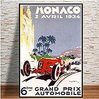 チャンピオンワールドグランプリレトロモナコ64thスーパーモーターカーポスターウォールアートキャンバス絵画部屋の家の装飾/ 50x70cm-フレームなし