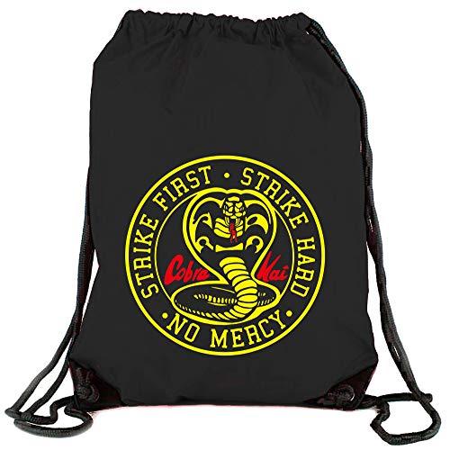 Camisetas EGB Bolsa Mochila Cobra Kai Karate Kid ochenteras 80´s Retro (Negro)