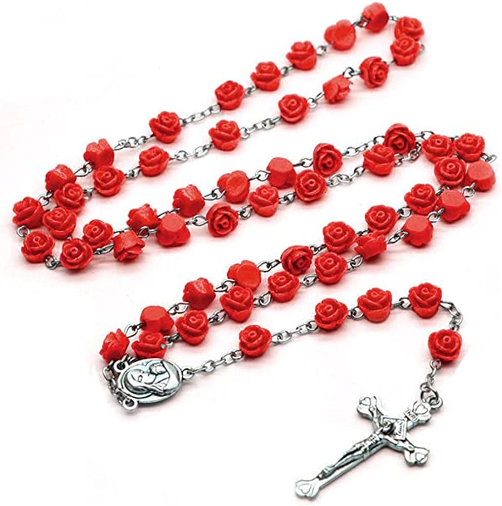 OEMOO Rosary Beads Catholic for Woman, Rose Beads Necklace Jewelry, First Communion Gifts for Girls Catholic, Christian Gifts Catholic Gifts