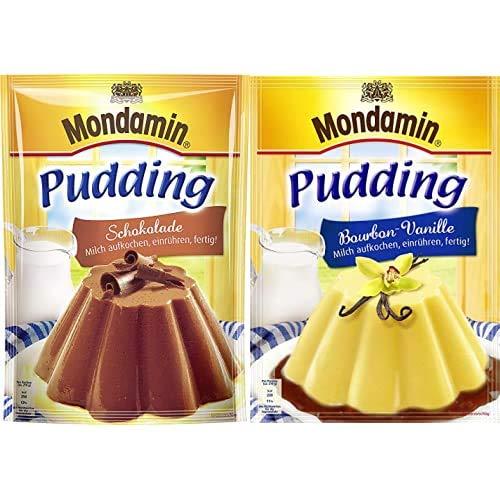 Mondamin Pudding Schokolade 3 Portionen, 13er Pack (13 x 133 gm) + Mondamin Pudding Bourbon-Vanille,...