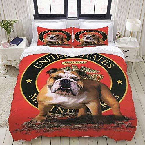 SmallNizi Funda nórdica, Marine Bulldog Estados Unidos, EE. UU, Juego de Ropa de Cama Juego de Funda de edredón de poliéster de Lujo Ultra cómodo y Ligero