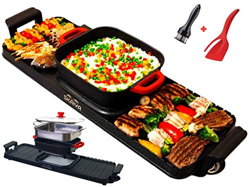 SKAIVA Hot pot with Grill -3 in 1 Electric hot pot with grill and steamer- Korean bbq grill and hot pot indoor Electric Bbq Korean grill shabu shabu hot pot electric grill Detachable Kbbq grill combo