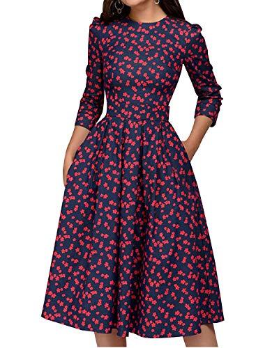 MINTLIMIT Damen 1950er Vintage Retro Cocktailkleid Rockabilly Kleider Petticoat Faltenrock Festliche Party Kleider Rot#2754R1 L