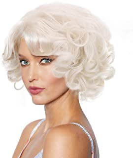 Big Curly Marilyn Monroe Cosplay Wig-1920s Finger Wave Synthetic Bombshell Hair Wigs for Party Costume Halloween