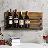 MyGift Wall-Mounted Industrial Rustic Wood & Black Metal Wine Rack