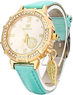 Fashion Dial Plated PU Leather Belt Watch with Leaf Pendant(Black) Personality (Color : Green)