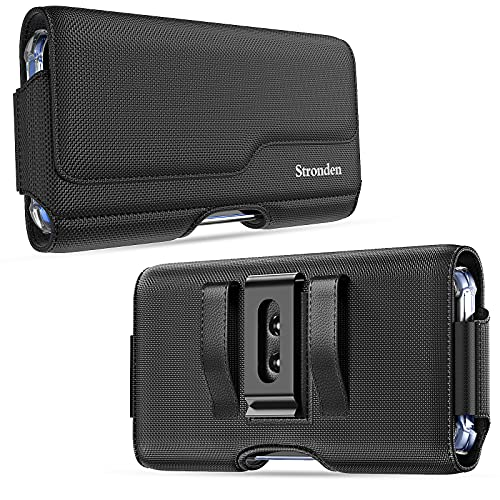 Stronden Holster for iPhone 13, 13 Pro, 12, 12 Pro, 11, XR - Nylon Holster Belt Case with Metal Clip & Magnetic Closure, Nylon Pouch Holster Phone Holder (Fits Otterbox Commuter/Aneu Case on)