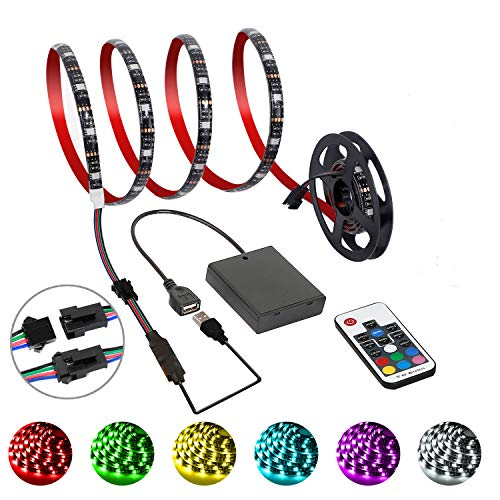 G GEEKEEP Battery Powered Led Light Strip USB Sticky RGB Dimmable Light Rope 2M/6.56FT with RF Remote
