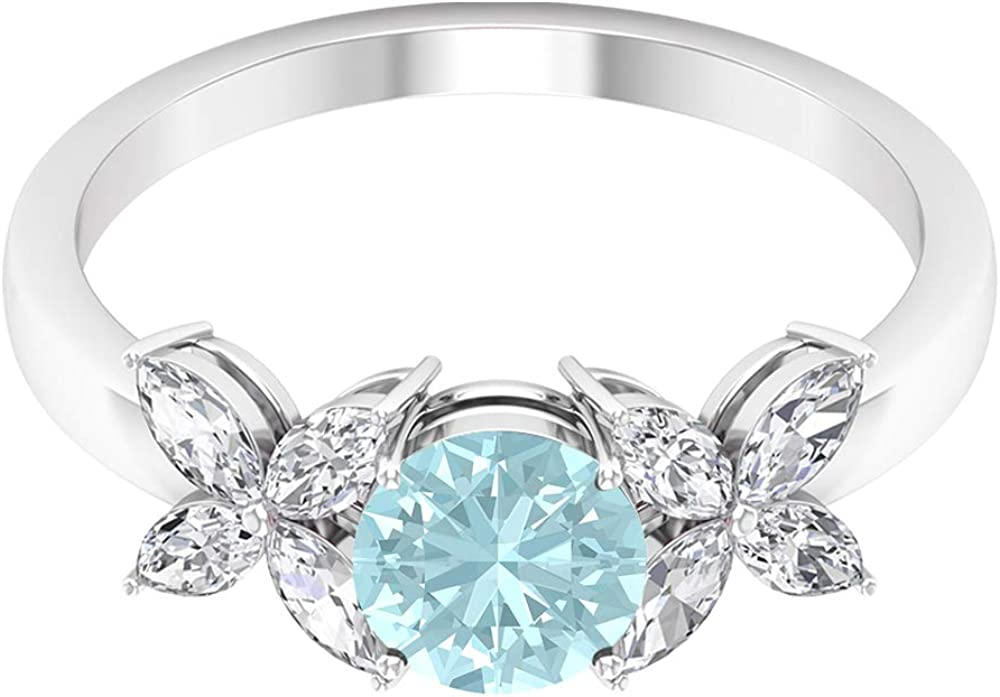 1.50 CT Sky Blue Topaz 2021 autumn and winter new Solitaire Diamond Ring Floral with Super sale Accent