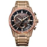 Citizen Eco-Drive PCAT Quartz Mens Watch, Stainless Steel, Technology, Rose Gold-Tone (Model: CB5896-54X)