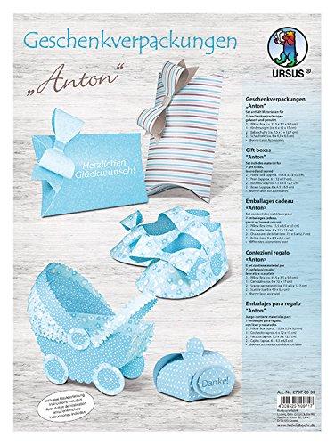 Ursus 27970099 - Geschenkverpackungen Anton aus Fotokarton, beidseitig Bedruckt, gelasert und genutet, 300 g/m², bunt