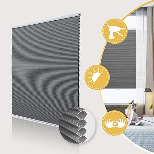 Deswell Wabenplissee verdunklung ohne Bohren doppelplissee Thermo klemmfix für Fenster & Tür, Sonnen-, Sicht- & Schallschutz Weiß-Grau 55x140cm