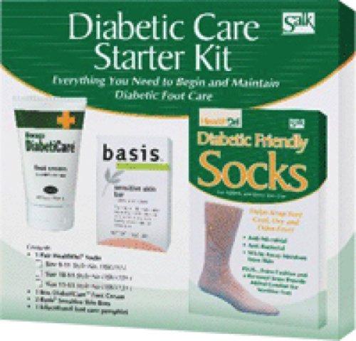 Salk Company Diabetic Foot Care Starter Kit with 10 to 13 Size Socks, Basis Sensitive Skin Bar Soap, DiabetiCare Foot Cream (Kit of 1 Kit)