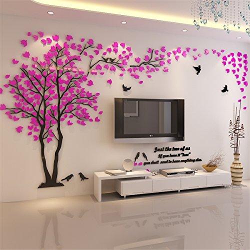 DIY 3D Riesiger Baum Paar Wandtattoos Wandaufkleber Kristall Acryl Malen Wanddeko Wandkunst (XL, Rosa, Recht)