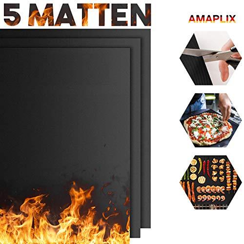 AMAPLIX BBQ Grillmatte, (5er Set) Antihaft für Grill, Backofen,Gasgrill, Holzkohlegrill Rund oder Eckig, groß 40x33 aus Teflon, Magische Grillmatte