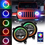 DOT Approved 9 inch RGB Halo LED Round Headlight High Low Beam Compatible with Jeep Wrangler JL Sport Rubicon Sahara 2018-2020
