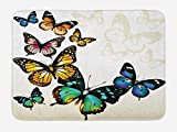Ambesonne Butterfly Bath Mat, Vivid Monarch Butterflies Flying Shades Shadows...