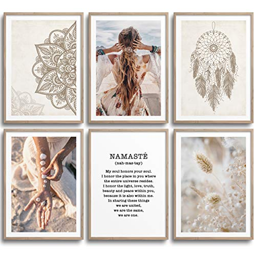 MONOKO® Wohnzimmer Poster Set - Schlafzimmer Bilder Set Premium - Stilvolle Wandbilder - 6er Set ohne Rahmen (Set Boho, Bohemian, Mandala, 6x A4 (21 x 29,7cm))