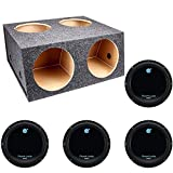 Q Power 4 Hole 12' Sealed Divided Subwoofer Box & 12' 1800W Subwoofer (4 Pack)
