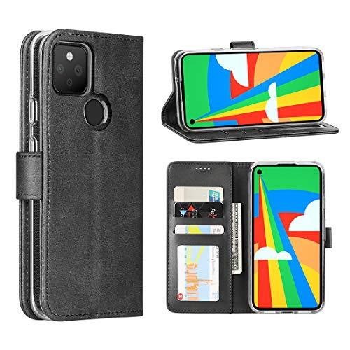 Cresee für Google Pixel 4a 5G Hülle, PU Leder Handyhülle mit 3 Kartenfächer, Schutzhülle Hülle Tasche Magnetverschluss Flip Cover Stoßfest (Schwarz)