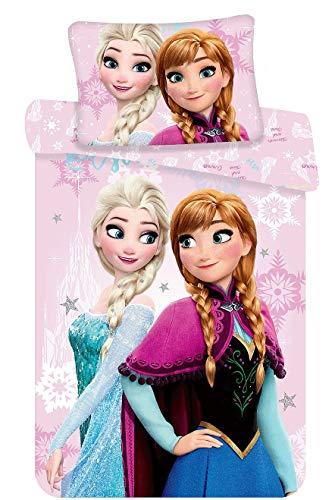 Kinderbettwäsche Disney III 2-teilig 100% Baumwolle 40x60 + 100x135 cm mit Reißverschluss (Elsa Stars)