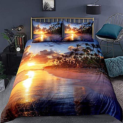 HUA JIE Rose Duvet Cover 3Pcs Beach Duvet Cover Set,Summer Sea Ocean Bedding Set Hawaiian Tropical Palm Tree Printed Microfiber Comforter Cover,With 2 Pillow Shams