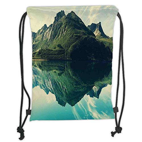 Fevthmii Drawstring Backpacks Bags,Landscape,Mountain Sharp Peaks Short Trees Reflected to a Quiet Lake,Dark Green Light Blue and White Soft Satin,5 Liter Capacity,Adjustable String Closure