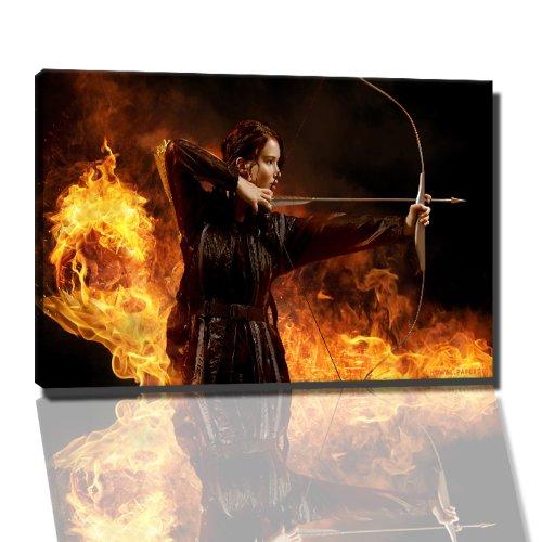 hunger Games catching fire afbeelding op canvas - 120x80 cm kant-en-klare kunstdruk afbeeldingen als muurschildering - Goedkoper dan een olieverfschilderij of schilderij - GEEN poster of affiche