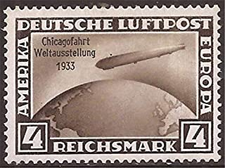 Germany - 1933 4m GRAF Zeppelin Stamp w/Century of Progress Overprint MH #C45