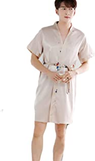Pajamas The Nightgown Men's Men's Bathrobe Silk Bathrobe Comfortable Sizes Long Section Home Clothes Lightweight Cozy Bath...