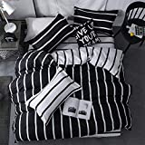 LAMEJOR Duvet Cover Set Queen Size Simplicity Black and White Striped Pattern Reversible Luxury Soft Bedding Set Comforter Cover (1 Duvet Cover+2 Pillowcases)