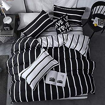 LAMEJOR Duvet Cover Set Twin Size Simplicity Black and White Striped Pattern Reversible Luxury Soft Bedding Set Comforter Cover  1 Duvet Cover+2 Pillowcases