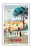 Rome, Italy - St. Peters Basilica - Vintage Airline Travel Poster by Yves Brayer c.1949 - Master Art Print 12in x 18in (Kitchen)