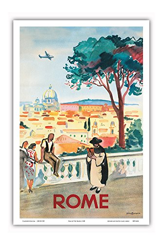 Rome, Italy - St. Peters Basilica - Vintage Airline Travel Poster by Yves Brayer c.1949 - Master Art Print - 12in x 18in