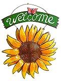Cartel de bienvenida vintage de hierro con diseño de girasol y mariposa, 38 cm para colgar en la puerta, decoración del hogar
