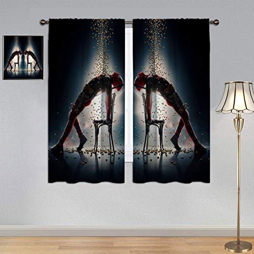 ARYAGO Customized Curtains Deadpool 2 Curtains, Funny Superhero Movie Deadpool Window Curtain Fabric for Bedroom/Living Room 55x63 Inch