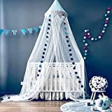 Dix-Rainbow Bed Canopy with Pom Pom Hanging Mosquito Net for Baby Crib Kids Twin Full Queen Size Bed, Lace Round Dome Fairy Netting Curtains, Kids Play Tent Reading Nook Castle Games House - Blue
