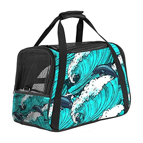 Sea Turquoise Dolphin Pet Bag Airline - Bolsa de transporte para perros pequeños y medianos para gatos, transportador de viaje para cachorros de 15 libras