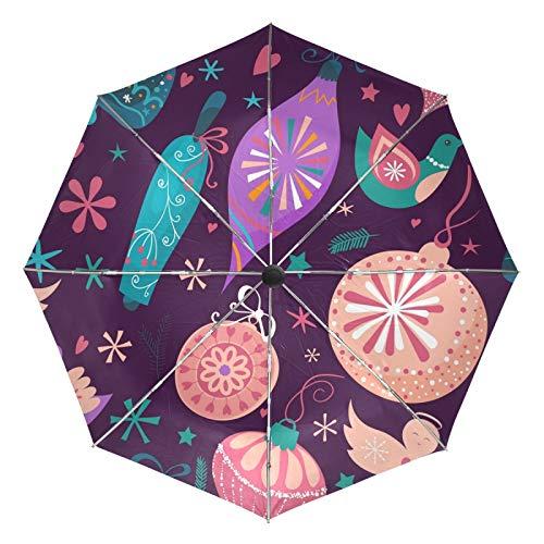 Ombrello da viaggio piccolo Antivento da esterno per pioggia Sun UV Auto compatto 3 pieghe Ombrelli Cover - Palline di Natale