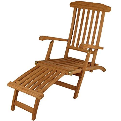 """DIVERO GL05151  Liegestuhl, Deckchair, Steamer, Klappsessel, Holzliege  \""""Florentine\"""" Fußteil, Teak Holz mit Armlehnen für Garten, Terrasse, Balkon, Sauna, witterungsbeständig behandelt massiv natur"""