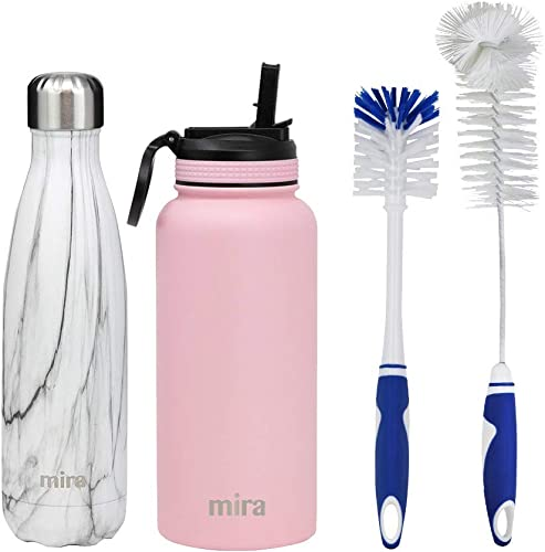 high quality MIRA high quality Starter Bundle with 17oz Insulated Cola Shaped Bottle (French Granite) and 32oz Insulated Wide Mouth Straw Lid Bottle (Pink) and 2 Bottle lowest Cleaning Brushes online