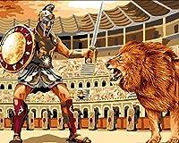 JYSZSD DIYアダルトデジタルペインティング初心者 動物のライオン キャンバスの油絵 大人の子供用ギフト 数字キットでペイント ホ ムデコレ ション 40X50cm(フレームなし)